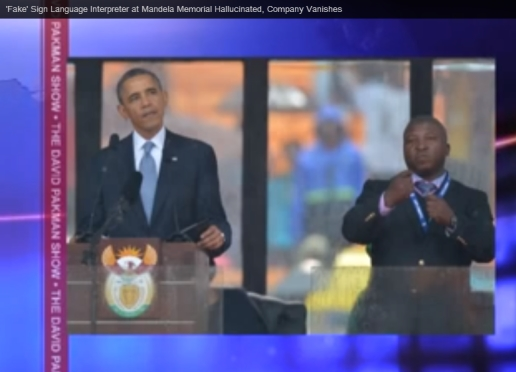 Youtube print screen: Obama och teckenspråkstolken